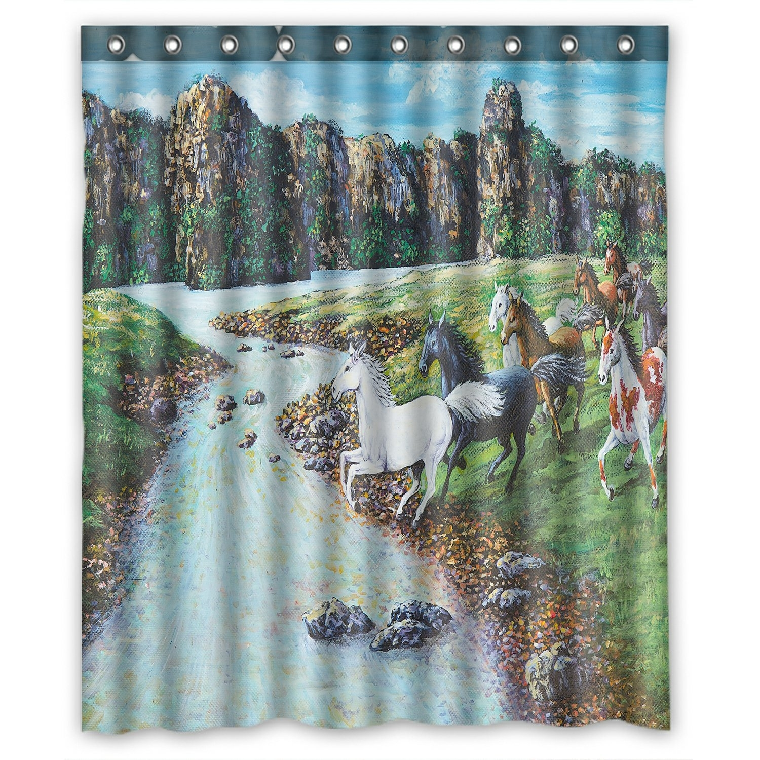 Oil Painting Landscape Shower Curtain, Animal Horses Crossing the River Shower Curtain 60x72 inch