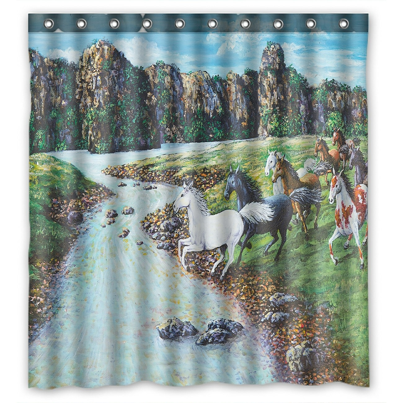 Oil Painting Landscape Shower Curtain, Animal Horses Crossing the River Shower Curtain 66x72 inch