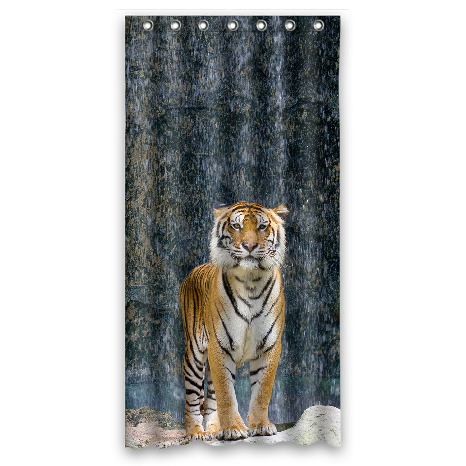 Animal Shower Curtain, Tiger Standing on the Rock near the waterfall mountain landscape Shower Curtain 36x72 inch