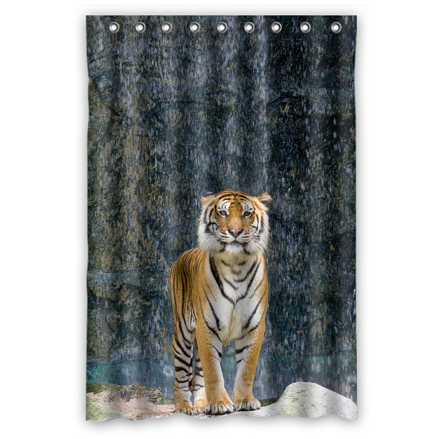 Animal Shower Curtain, Tiger Standing on the Rock near the waterfall mountain landscape Shower Curtain 48x72 inch