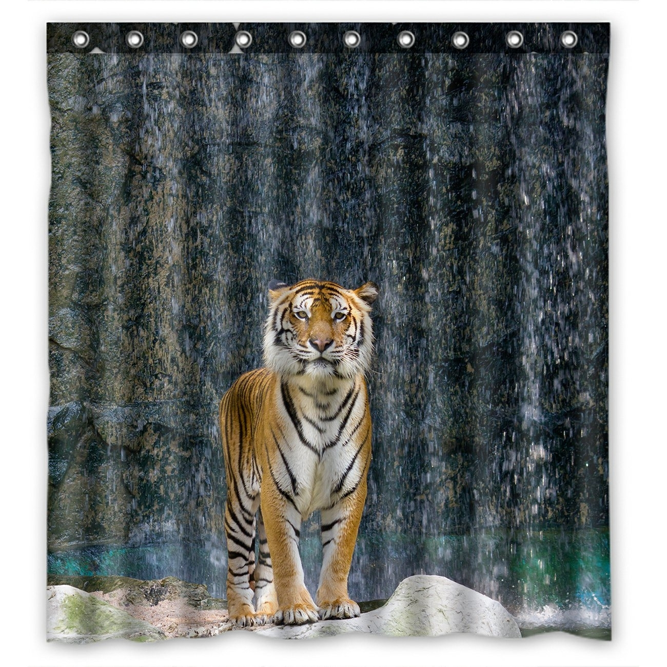 Animal Shower Curtain, Tiger Standing on the Rock near the waterfall mountain landscape Shower Curtain 66x72 inch