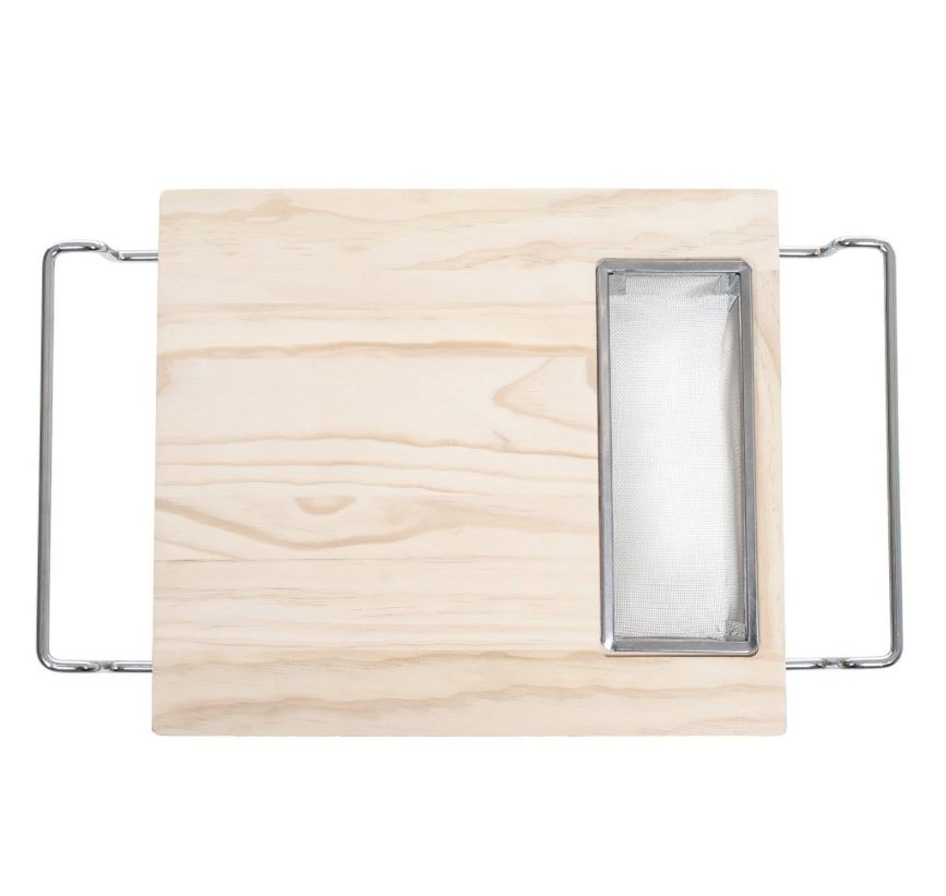 Cutting Board with Wire Colander- 2 in 1 Adjustable Wooden Chopping Board for Over the Sink with Strainer