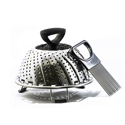 Premium Vegetable Steamer from Utencil - 3 Compartment Stainless-Steel 9 Inch Steamer - 11 inch