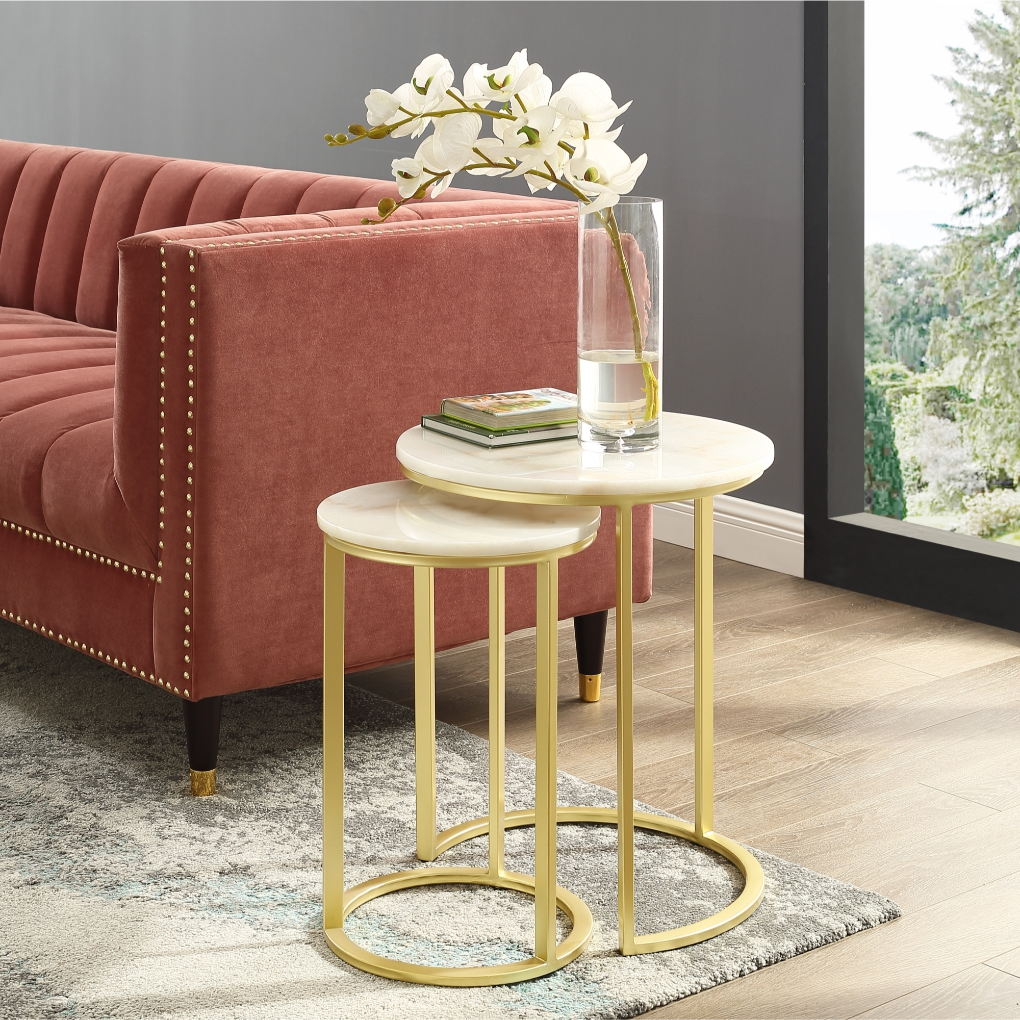 Grace End or Coffee Table - Round Natural Marble   Metal Frame   Stackable Set of 2   Inspired Home - Gold, End Table