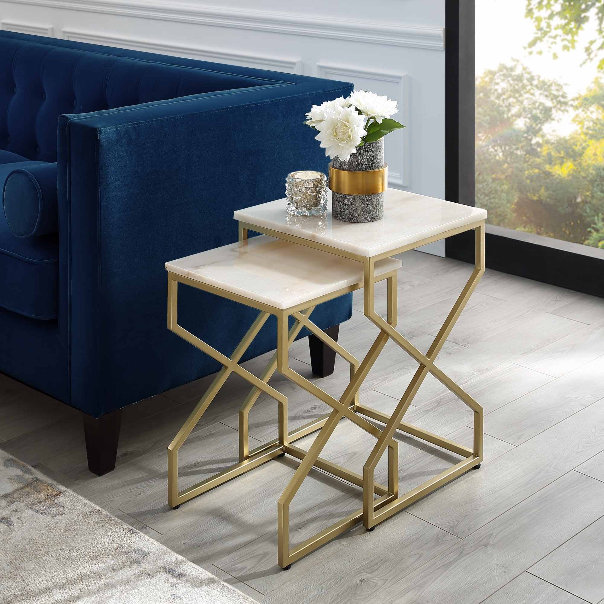 Patricia End or Coffee Table - Square Natural Marble   Metal X-cross Legs   Stackable Set of 2   Inspired Home - Gold, End Table