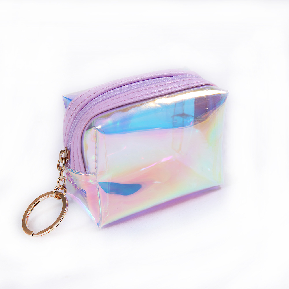 Fashion Laser Coin Purse Square Jelly Transparent Coin Purse Girl Data Cable Change Storage Bag(purple) (ZDstore) photo