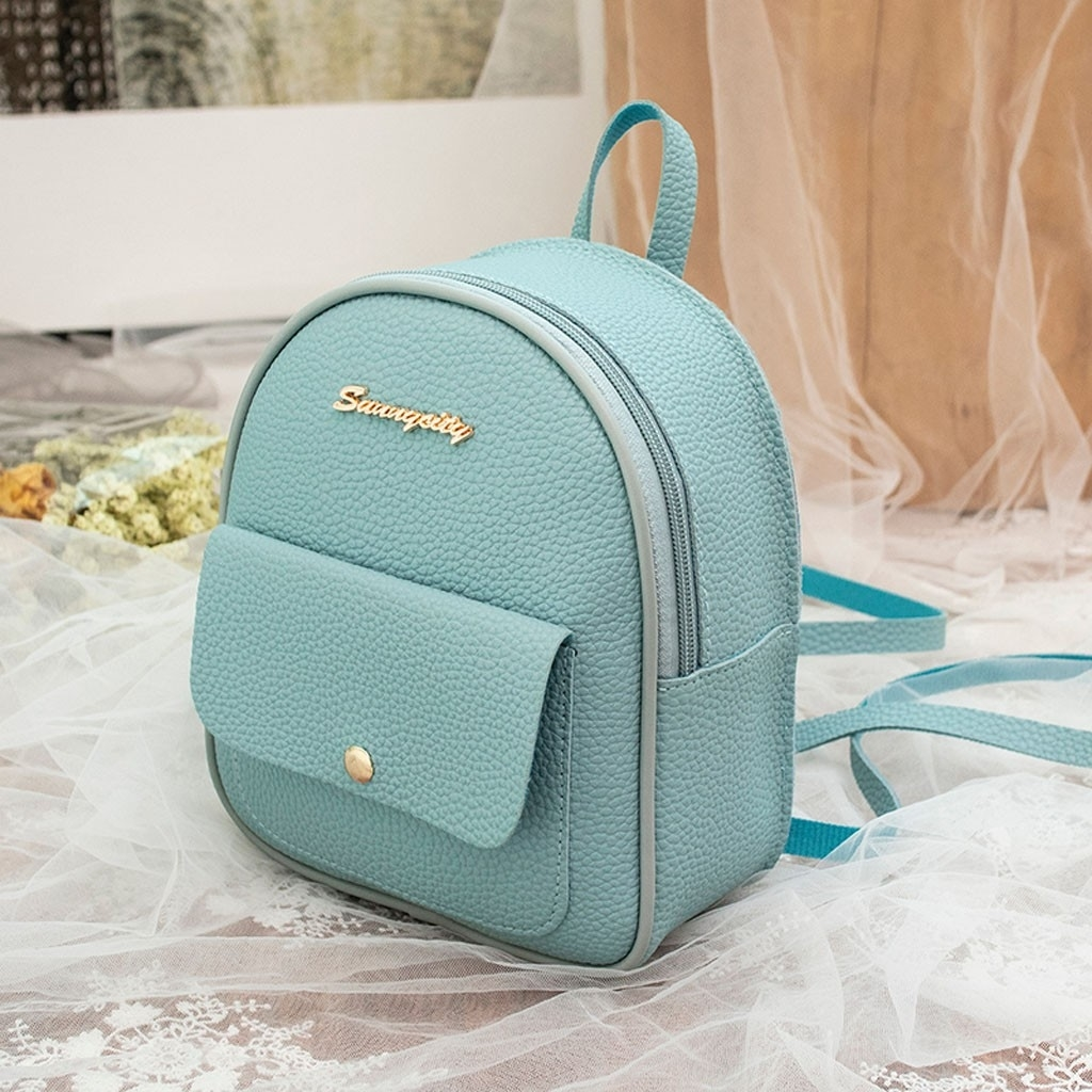 Fashion Women Shoulders Small Backpack Letter Purse Mobile Phone Messenger (LYH90318417BU_yuan) photo