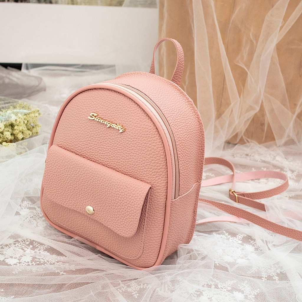 Fashion Women Shoulders Small Backpack Letter Purse Mobile Phone Messenger (LYH90318417PK_yuan) photo