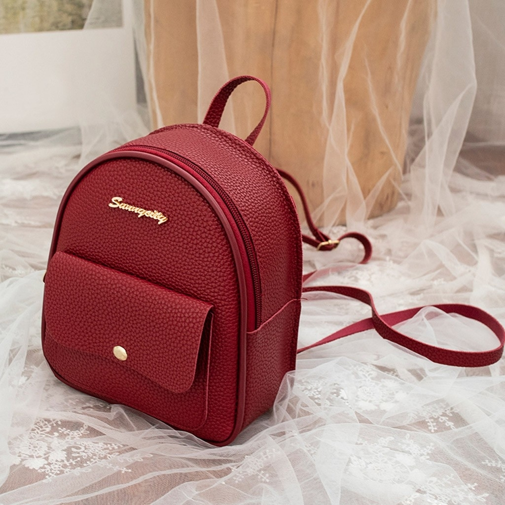Fashion Women Shoulders Small Backpack Letter Purse Mobile Phone Messenger (LYH90318417RD_yuan) photo