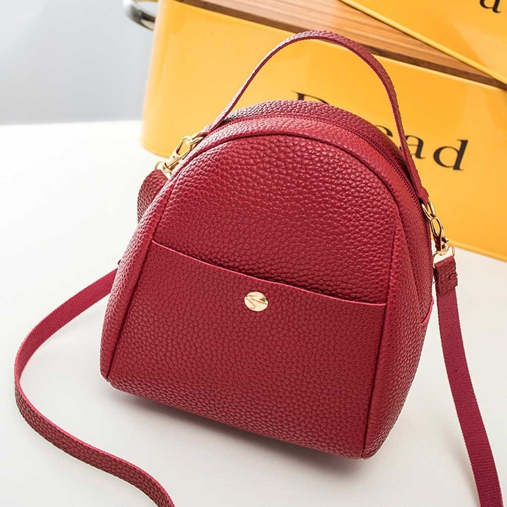 Fashion Lady Shoulders Small Backpack Letter Purse Mobile Phone Messenger (LYH90311416RD_yuan) photo