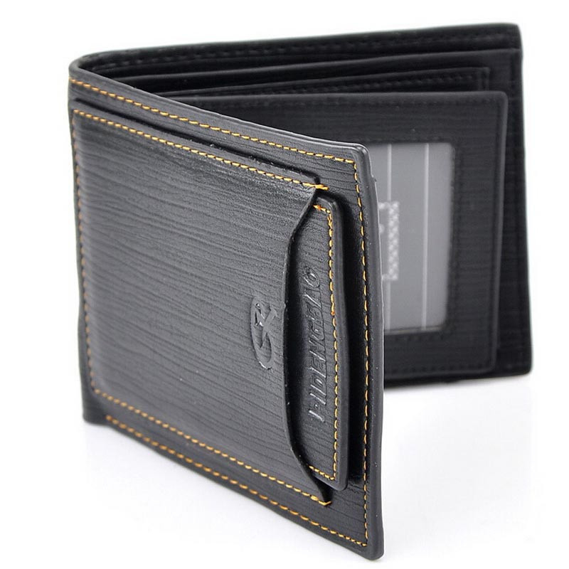 Men PU Wallet Pockets Money Purse ID Credit Card Clutch Bifold Classic (LXX50514202A_yuan) photo