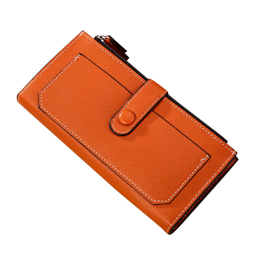 Lady Women Leather Clutch Wallet Long Card Holder Case Purse Handbag Orange (ZLY61210781OR_yuan) photo
