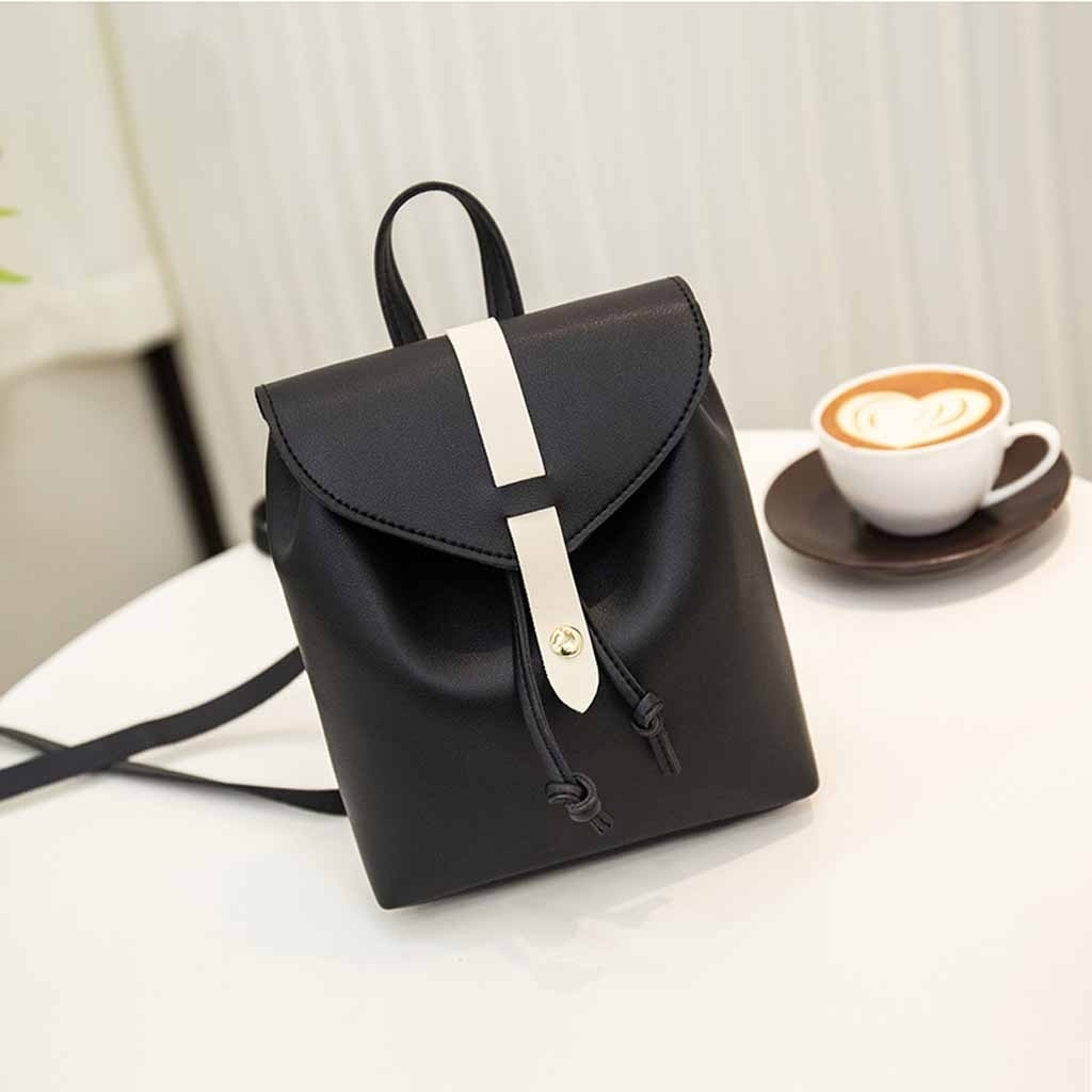 Fashion Lady Shoulders Small Backpack Letter Purse Mobile Phone Messenger (LYH81215414BK_yuan) photo