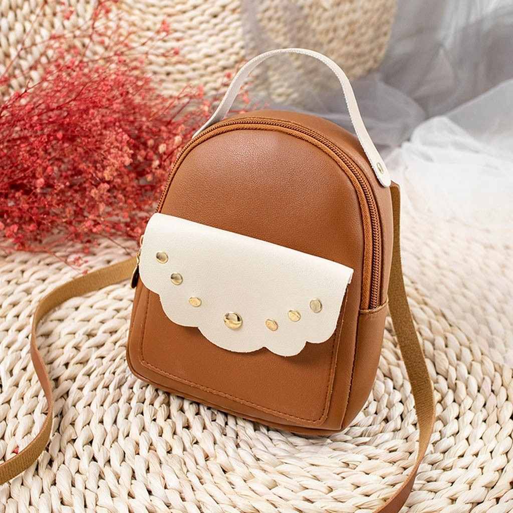 Fashion Lady Shoulders Small Backpack Letter Purse Mobile Phone Messenger (LYH90320418BW_yuan) photo