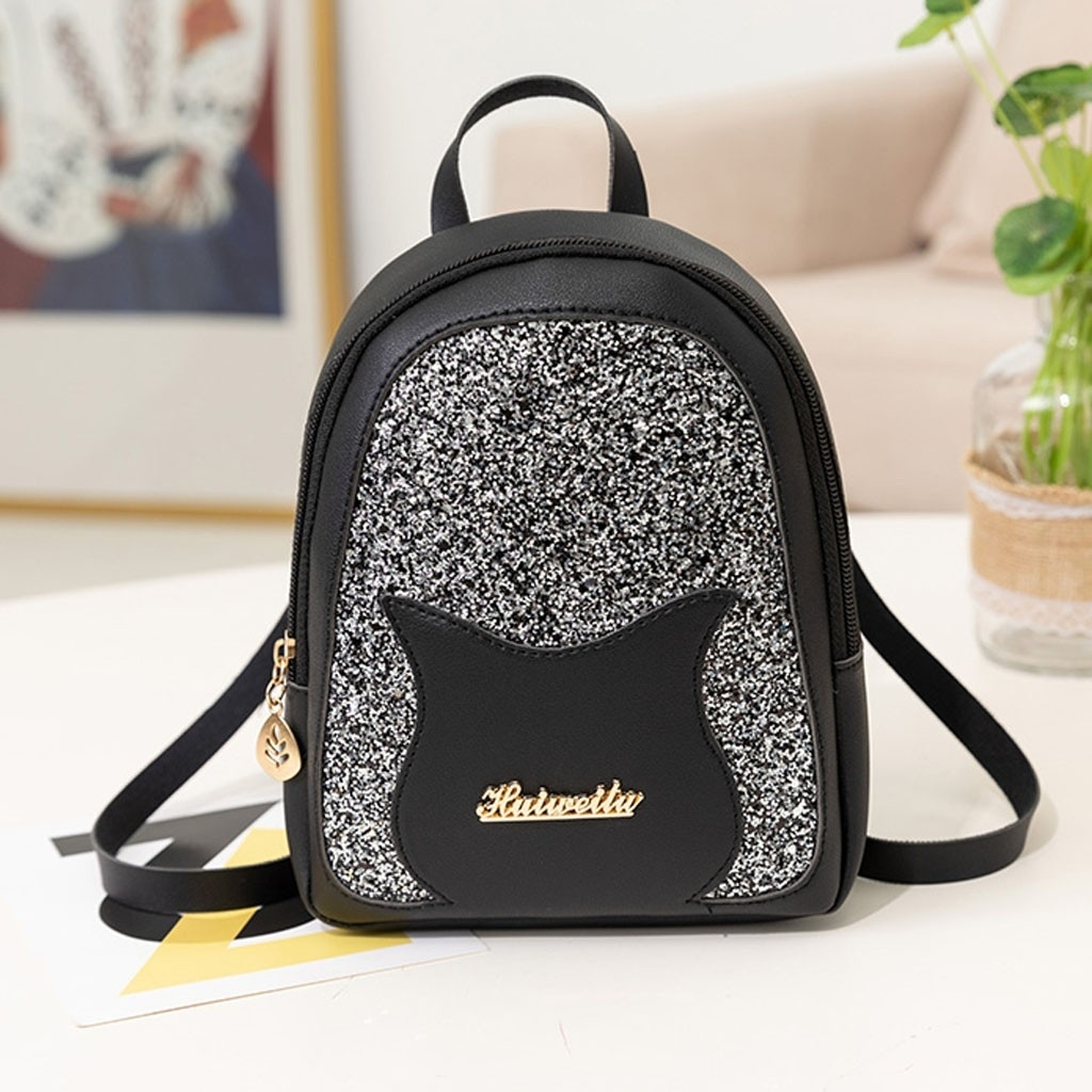 Fashion Lady Shoulders Small Backpack Letter Purse Mobile Phone Messenger (LYH90411419BK_yuan) photo
