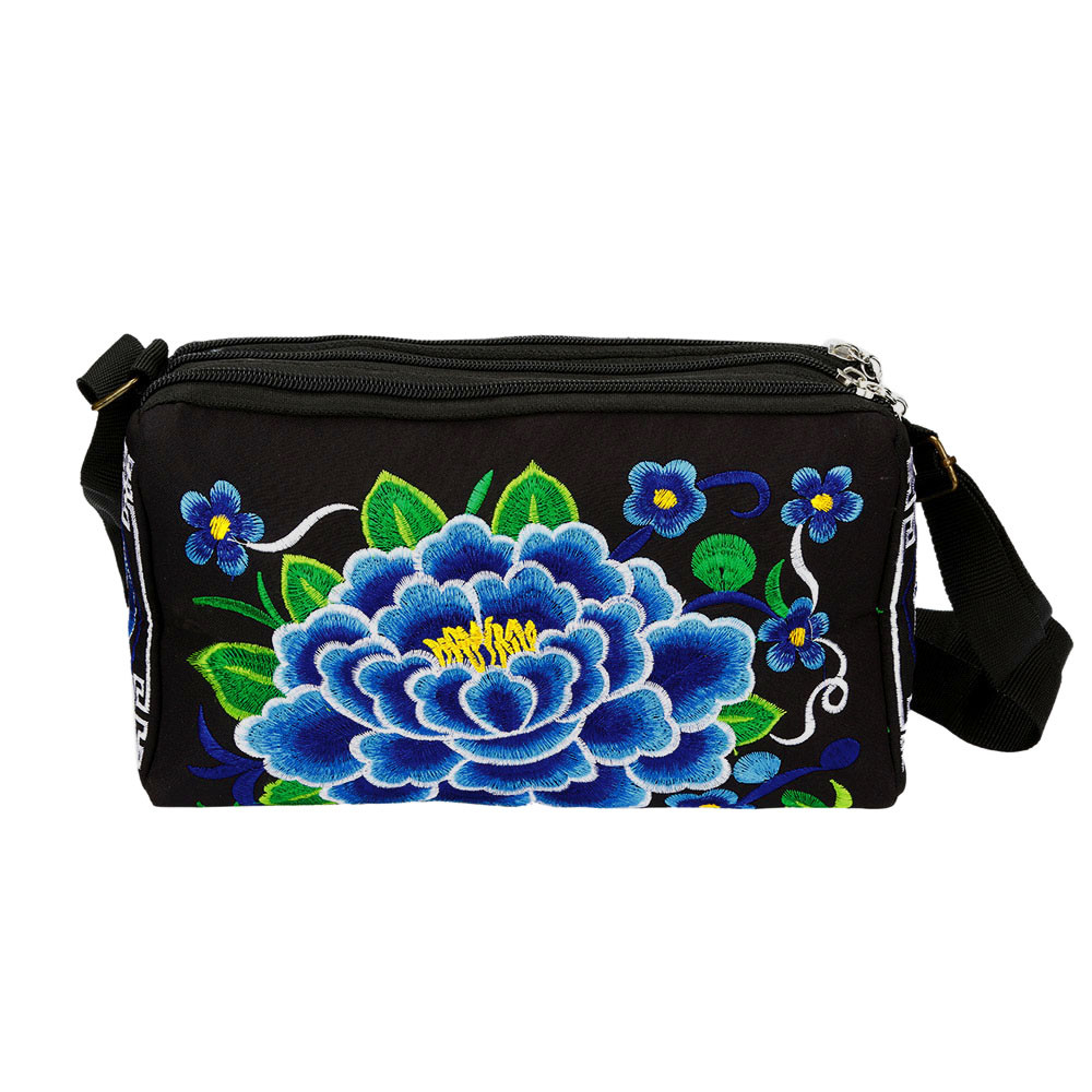 Women Ethnic Handmade Embroidered Wristlet Clutch Bag Vintage Purse Wallet (WSM70825086BU_yuan) photo