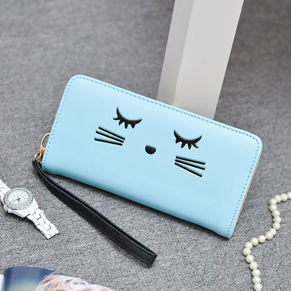 Women Wallets Cat Pattern Purse Clutch Wallet Cute Cartoon Girl Money Bag BU h1683 (Yuanzala) photo