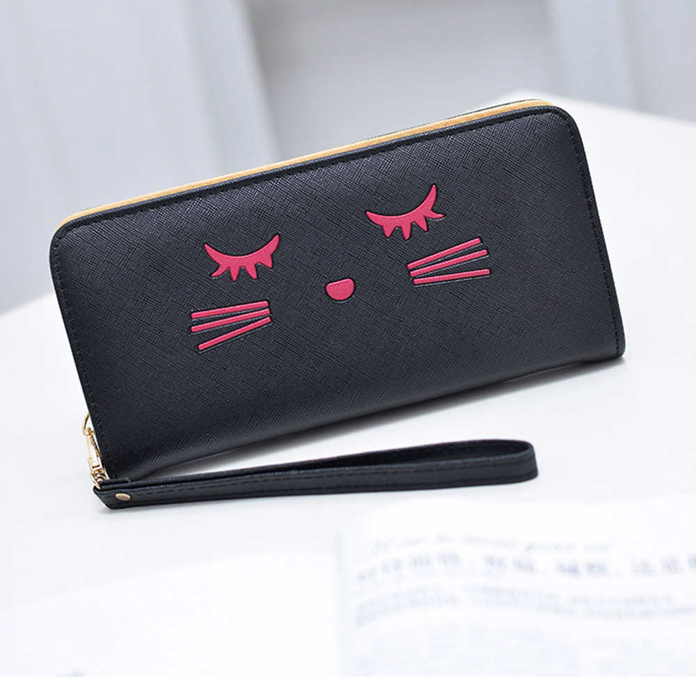 Women Wallets Cat Pattern Purse Clutch Wallet Cute Cartoon Girl Money Bag BK h1682 (Yuanzala) photo
