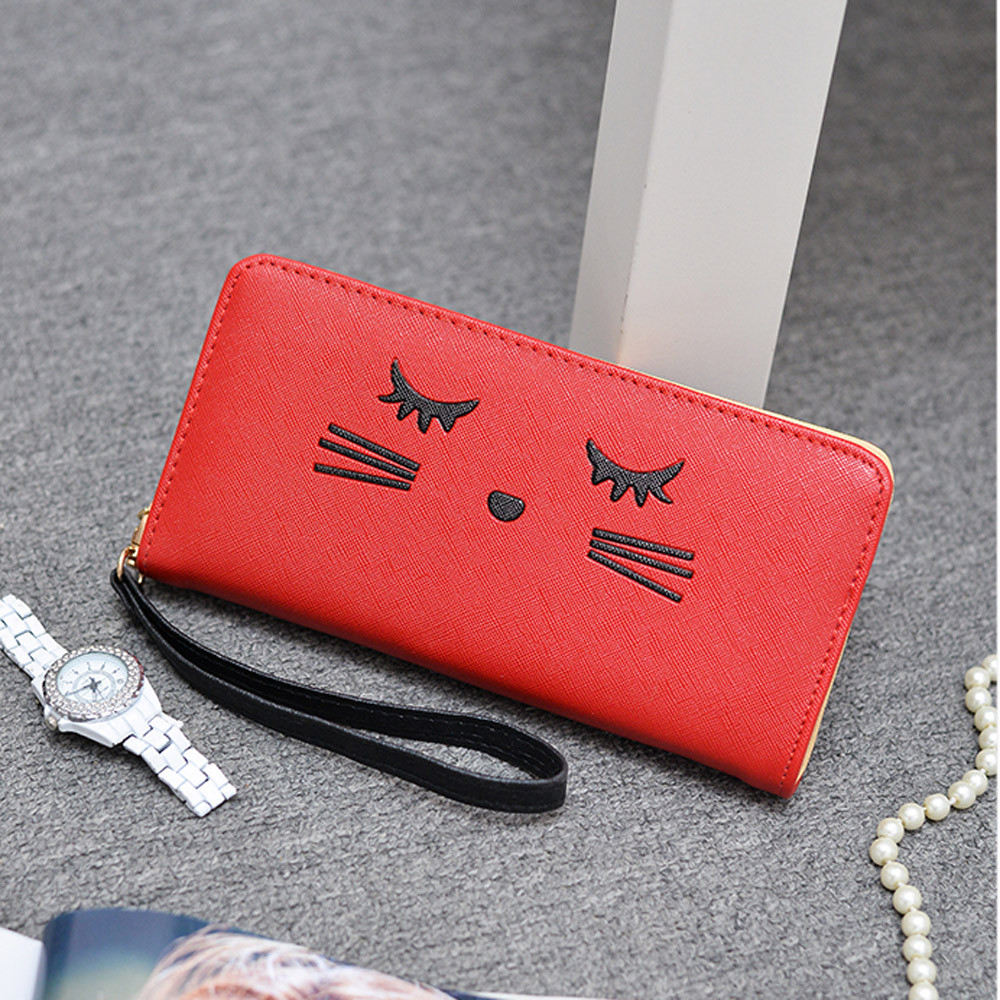 Women Wallets Cat Pattern Purse Clutch Wallet Cute Cartoon Girl Money Bag RD h1686 (Yuanzala) photo