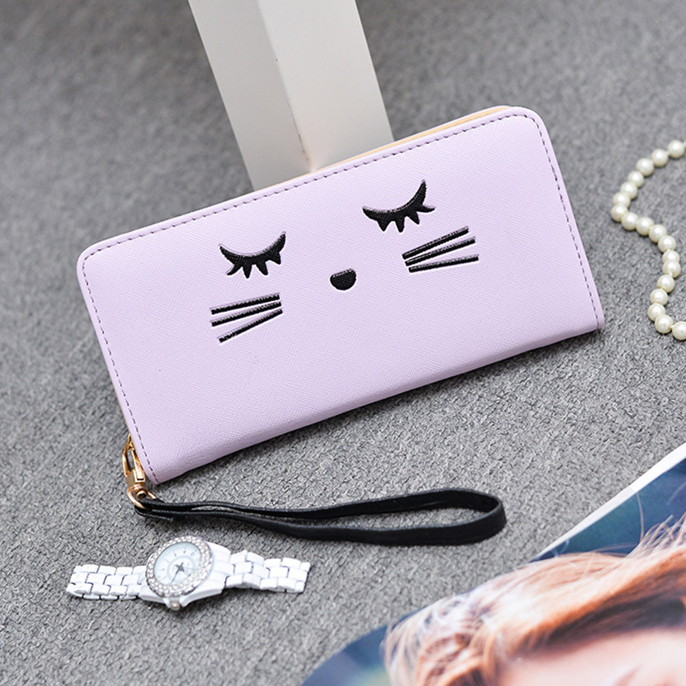 Women Wallets Cat Pattern Purse Clutch Wallet Cute Cartoon Girl Money Bag PP h1685 (Yuanzala) photo