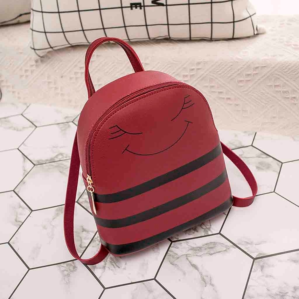 Girl Smiley Headphone Hole Backpack Slung Shoulder Bags Mobile Phone Purse (LYH81116411RD_eb) photo