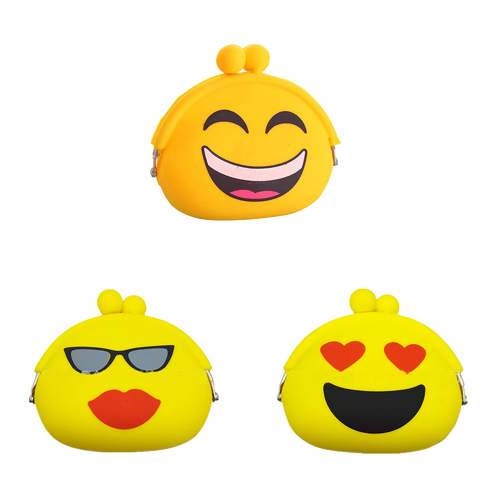 Silicone Coin Purse Small Change Wallet Purse Smiling Face Women Key Wallet Coin Bag For Children Kids GiftsMulticolor Heart (fangfangstore) photo