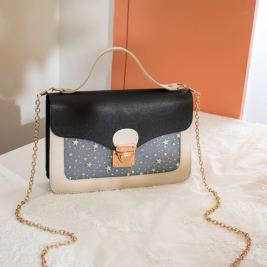 Fashion Lady Shoulders Small Backpack Sequin Purse Mobile Phone Messenger (LYH90416411BK_yuan) photo