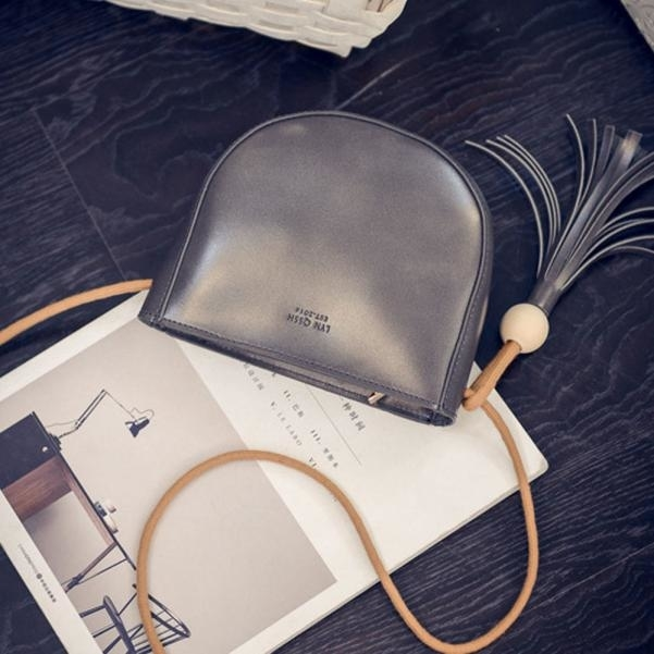Women Tassel Handbag Shoulder Bags Purse Wallet Purse Leather Messenger (ZLY60812783GY_yuan) photo