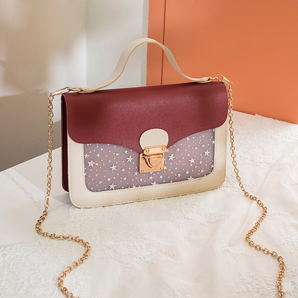 Lady Shoulders Small Backpack Sequin Purse Mobile Phone Messenger Bag (LYH90416411RD) photo