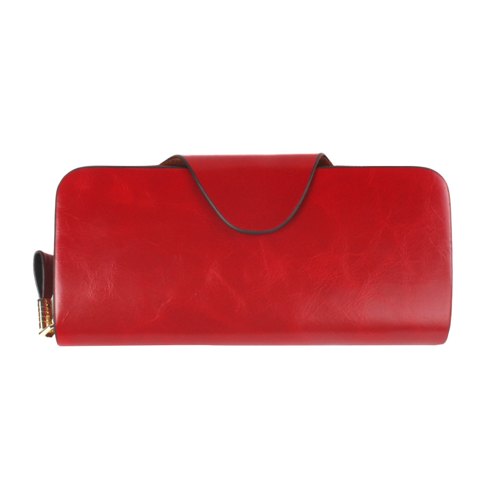 Zipper clutch take the first layer of oil wax leather long unisex purse (UPWHH71106003RD_yuan) photo