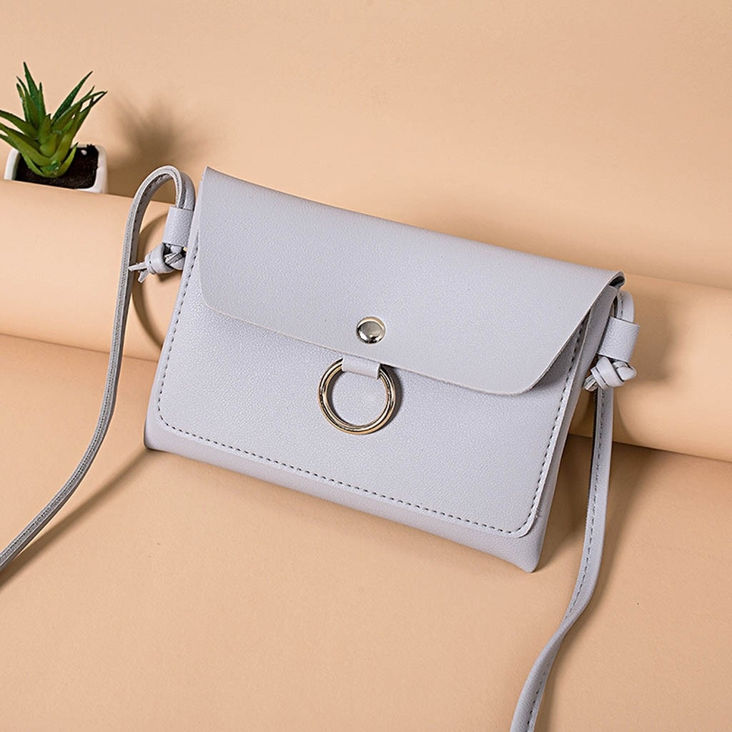 Fashion Lady Shoulders Small Backpack Letter Purse Mobile Phone Messenger (LYH90215415GY_yuan) photo