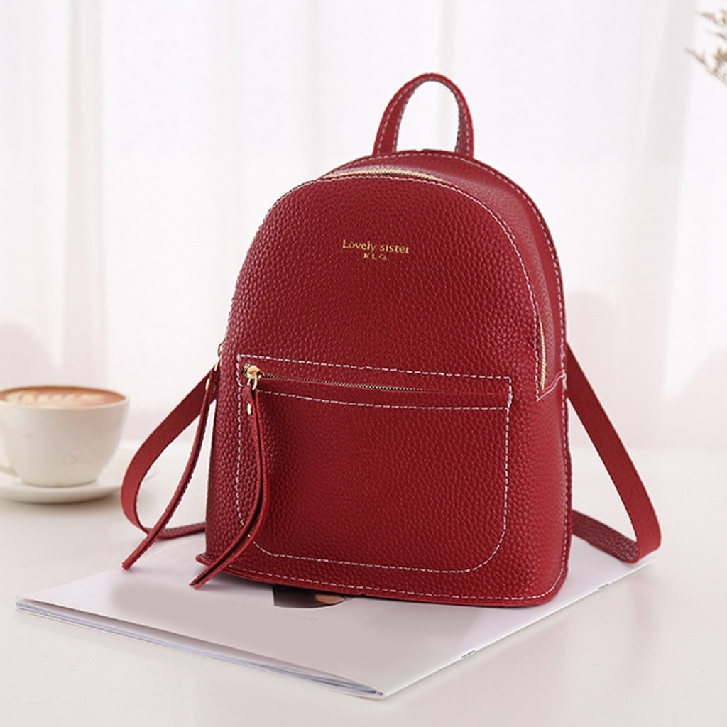 Fashion Lady Shoulders Small Backpack Letter Purse Mobile Phone Messenger (LYH90416417RD_yuan) photo