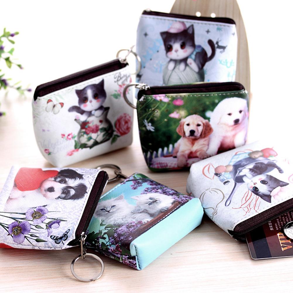 Women Girl Cute Dog Cat Faux Leather Clutch Short Coin Purse Zipper Wallet (1007271) photo