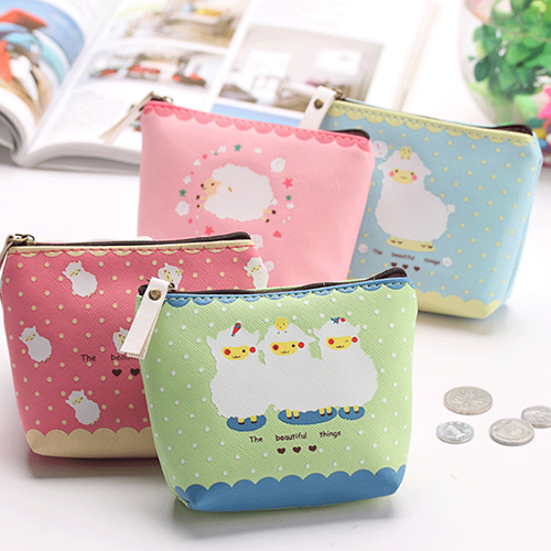 Girl Kid Coin Purse Animal Baby Sheep Zipper Case PU Leather Wallet Bag (644616) photo