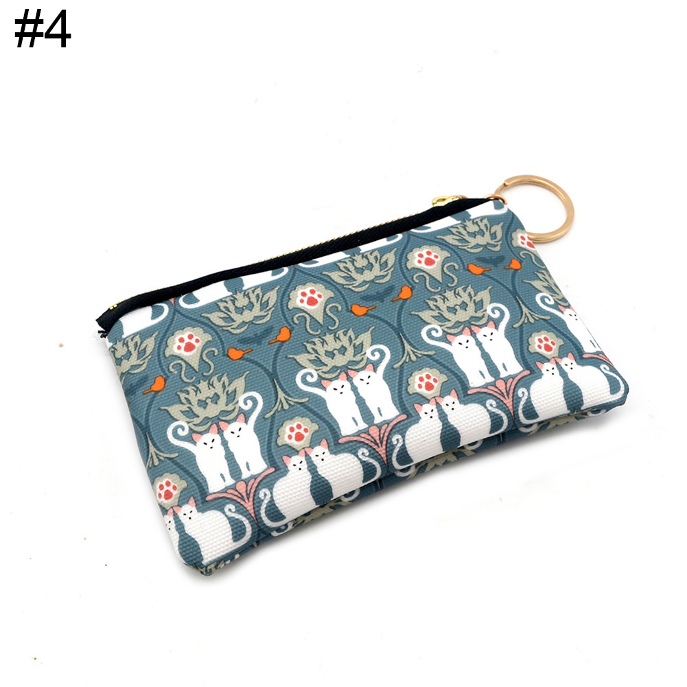 Fashion Cute Cat Pattern Canvas Women Girl Coin Holder Purse Zipper Small Wallet (Newpee) photo
