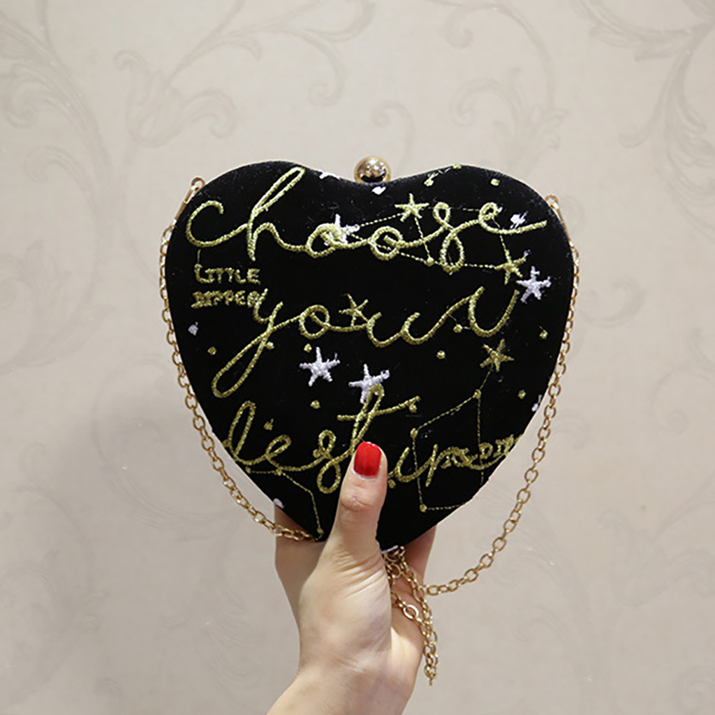 Women Heart Shaped Embroidery Evening Bag Party Clutch Purse Shoulder (XYL90524414BK) photo