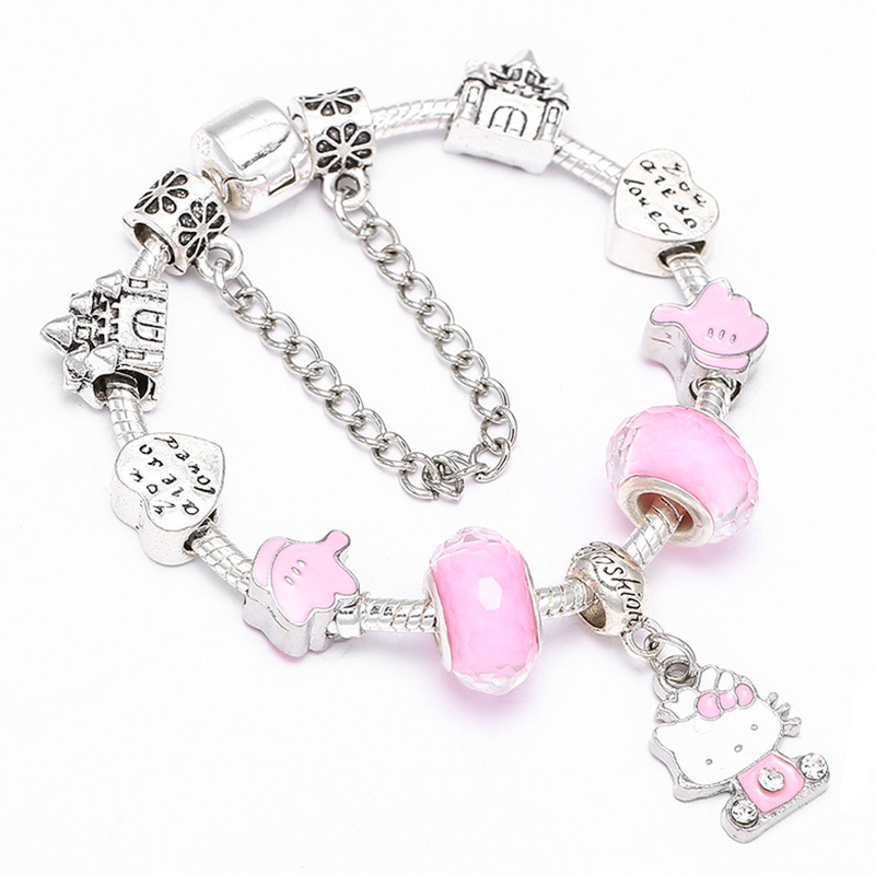 Glamour_Fashion_Bracelet_DIY_Pink_Cat_Pendant_Bracelet_Beautiful_Ladies