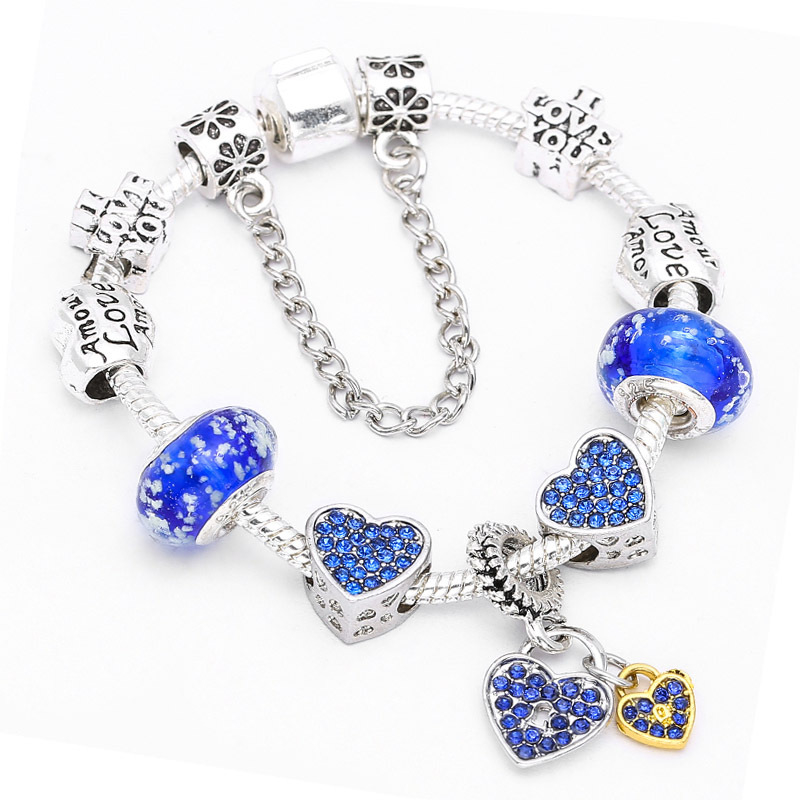 New_Ideas_Charm_Bracelet_DIY_Blue_Diamond_Love_Bracelet_Women's_Exquis