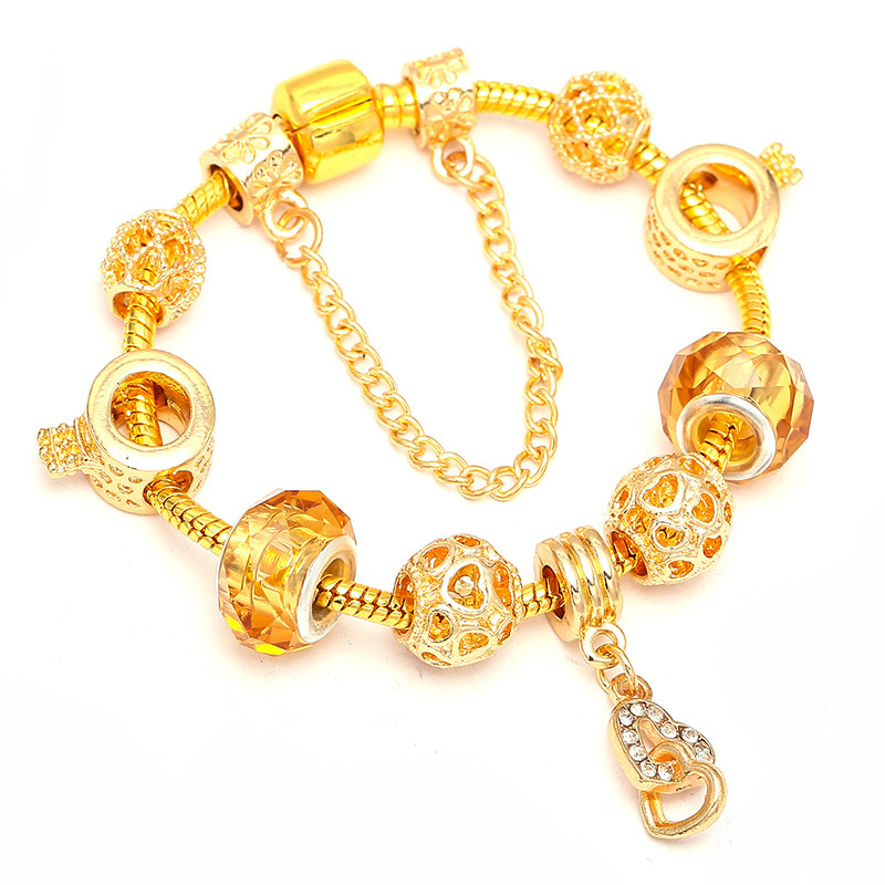 2019_hot_new_gold_beaded_bracelet_charm_diy_love_pendant_bracelet