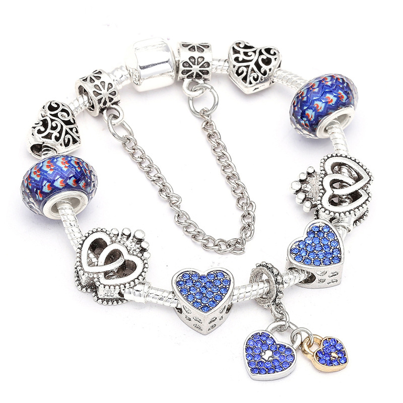 New_fashion_blue_diamond_heart_bracelet_diy_alloy_silver_bracelet_ladies