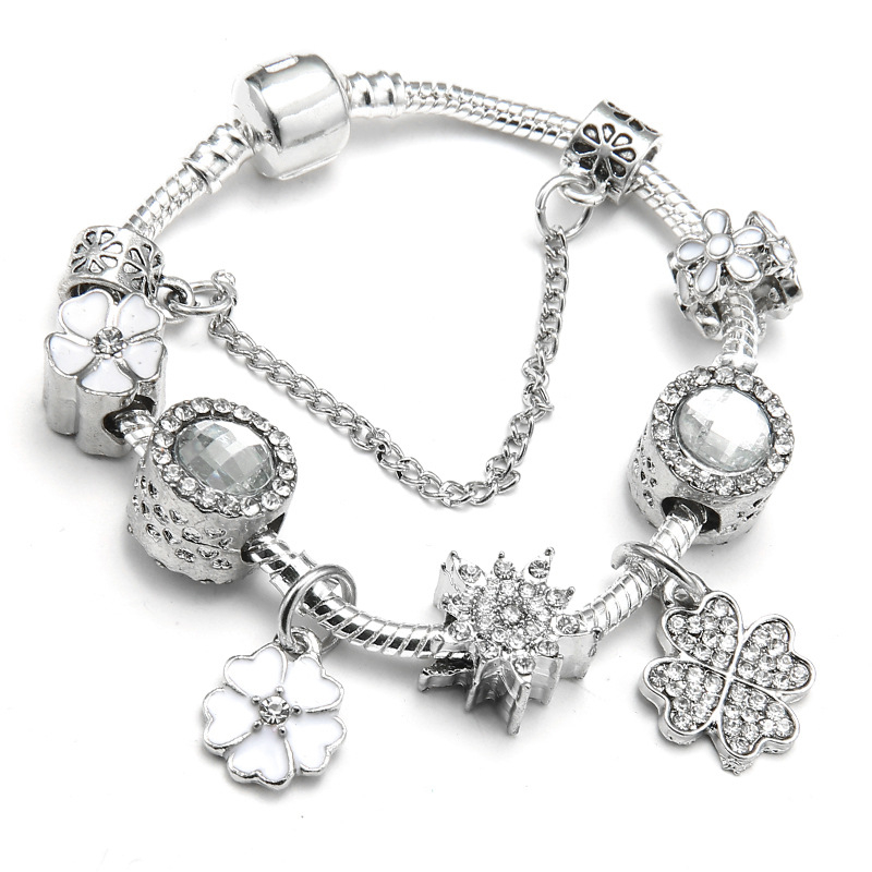Spring_new_white_floral_bracelet_Fashion_alloy_Silver_DIY_ladies_brace