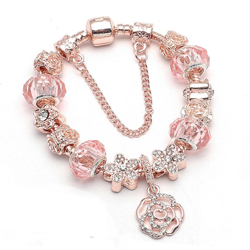 New_Rose_Gold_Bracelet_Glamour_Creative_Rose_Pendant_Bracelet_Fine_Fem