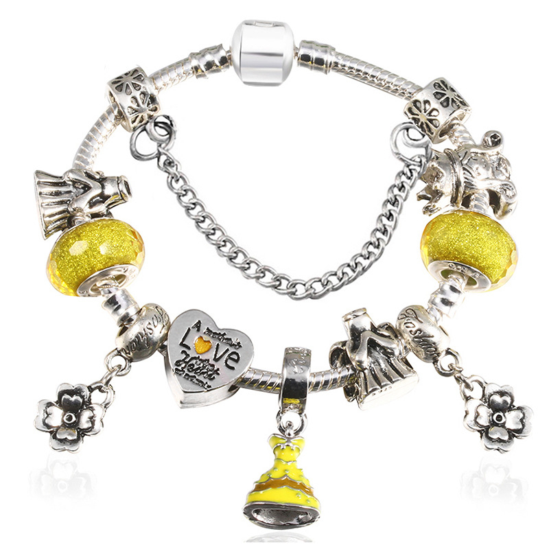 New_DIY_Cartoon_Mickey_Beaded_Bracelet_Yellow_Skirt_Pendant_Bracelet_J