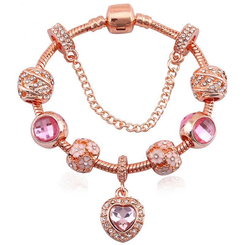 New_alloy_rose_gold_crystal_zircon_bracelet_female_love_jewelry