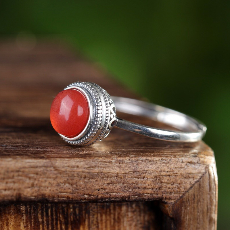 925_silver_natural_south_red_agate_handmade_round_ring_ethnic_style_temperament