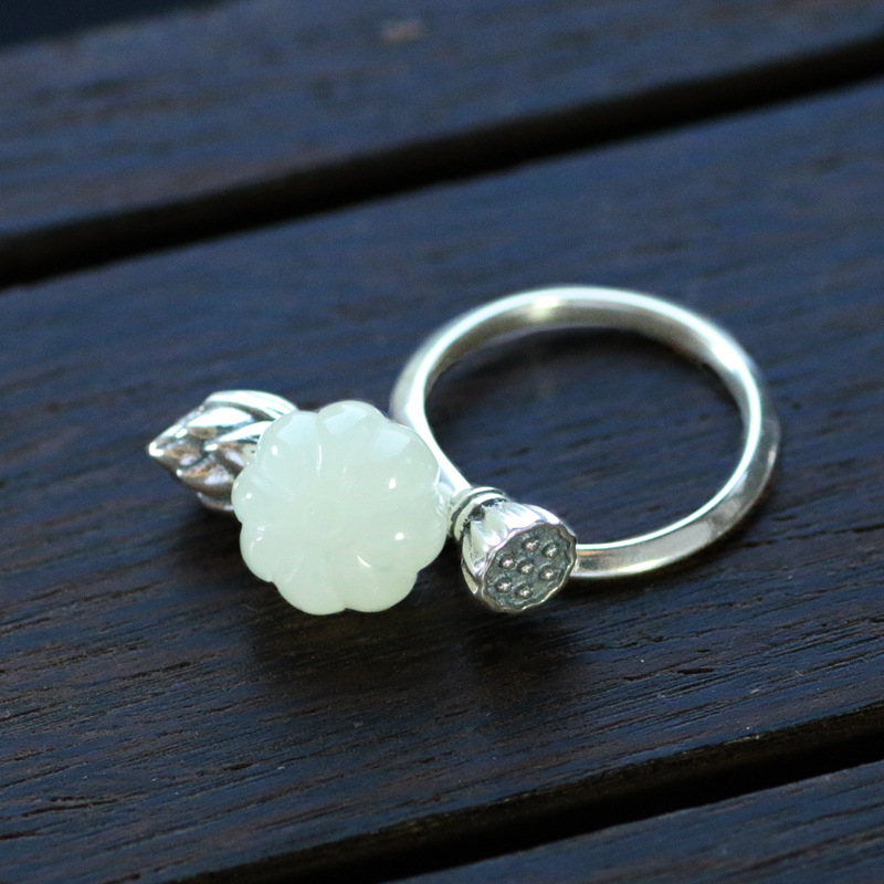 925_silver_natural_hetian_jade_lotus_lotus_pumpkin_opening_ring_lady_adjustable