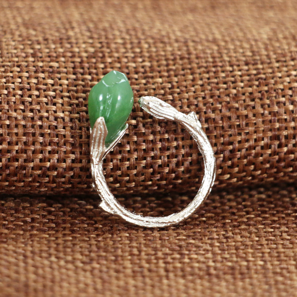 S925_sterling_silver_silver_natural_Russian_jasper_magnolia_open_ring