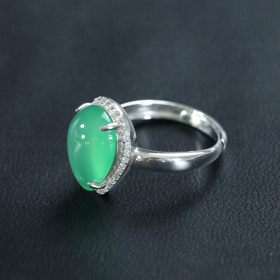 S925_sterling_silver_diamond_natural_green_chalcedony_water_drop_opening