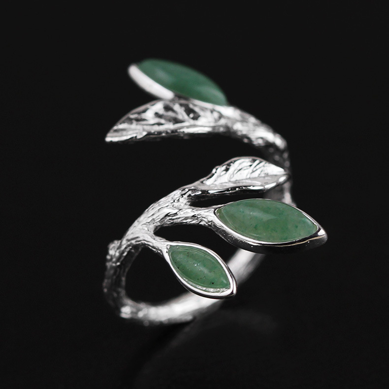 Original|Chun_Xi|S925_sterling_silver_inlaid_Dongling_jade_leaf_open_ring