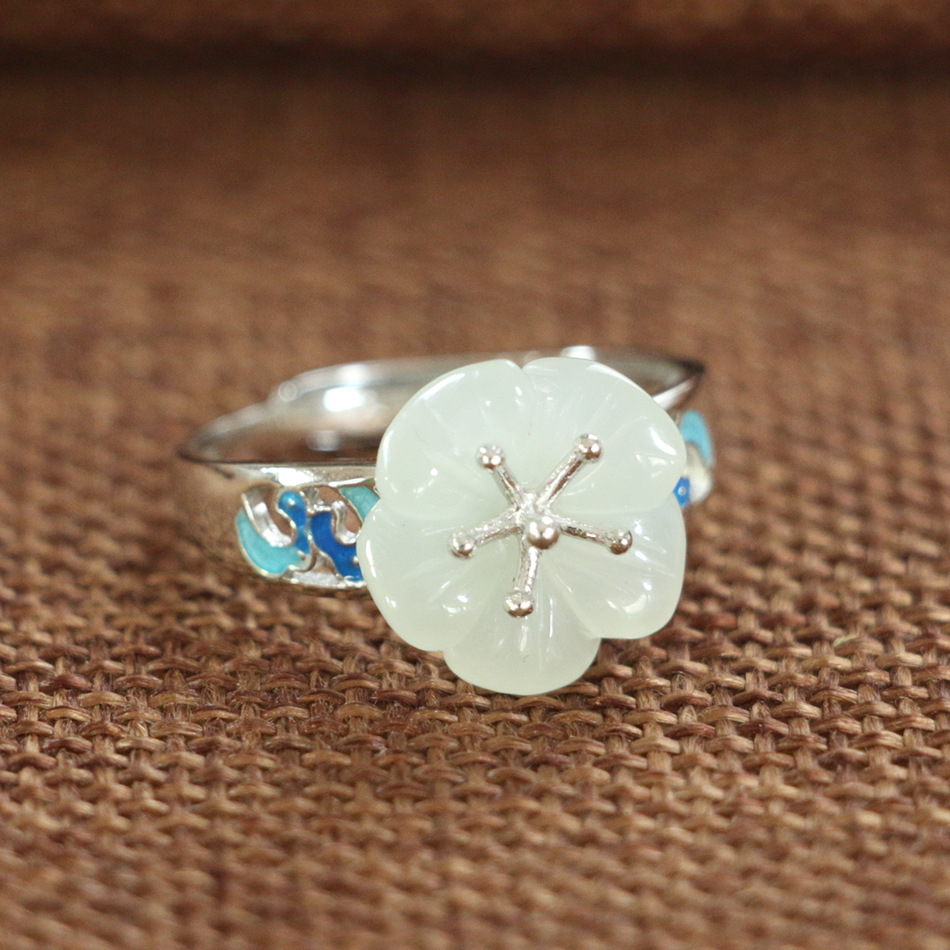S925_sterling_silver_enamel_natural_Hetian_jade_chrysanthemum_open_ring